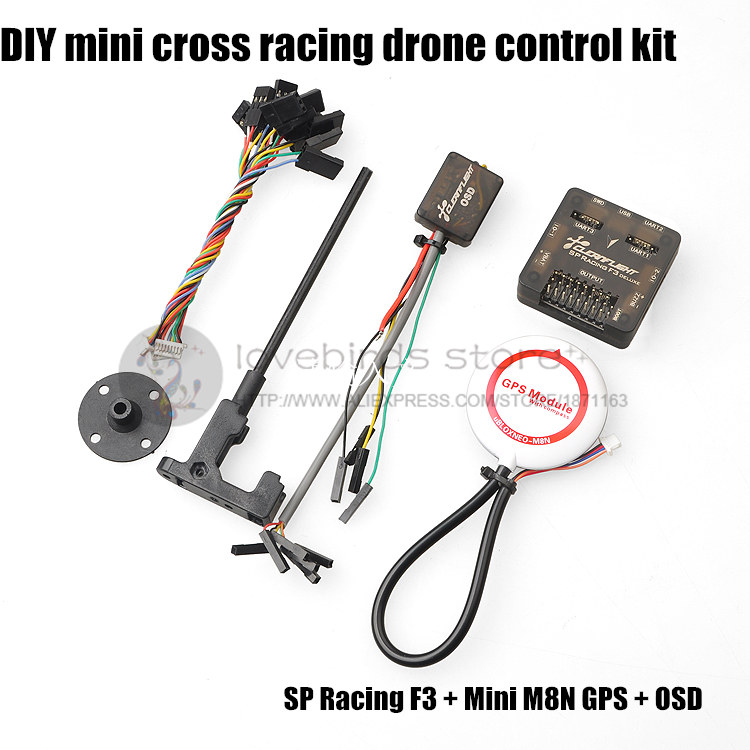 DIY mini drone flight control kit SP racing F3 + mini M8N GPS + CF OSD + holder for QAV250/robocat270/nighthawk 250 quadcopter ublox 7 series n32 gps module for mini naze32 flight control board for qav250 racing drones