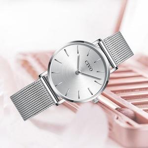 Image 3 - CIVO Fashion Wrist Watches For Women Waterproof Slim Steel Mesh Strap Quartz Watches Women Simple Casual Clock Relogio Feminino