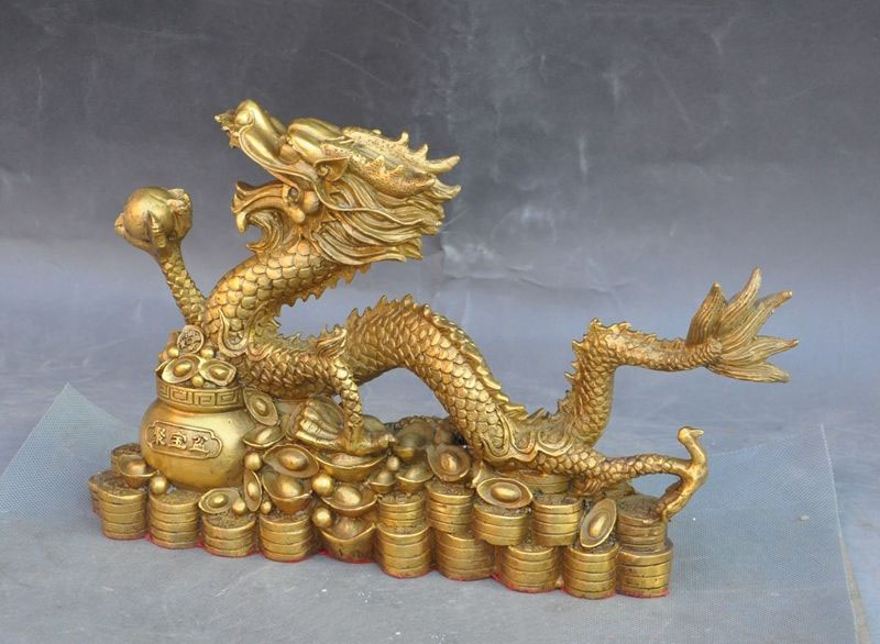 Chinese antique handmade brass statue dragon bowl