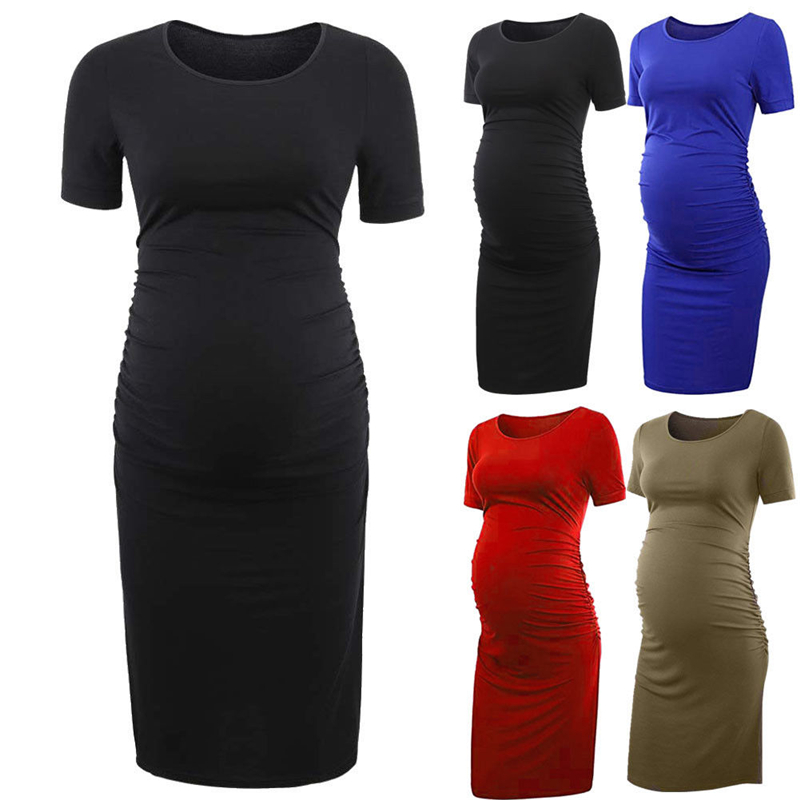 Solid Color Women Short Sleeve Summer Dress Pregnant Women Casual Dress Maternity Dress Photography Props Dress stylish hooded long sleeve color block women s dress