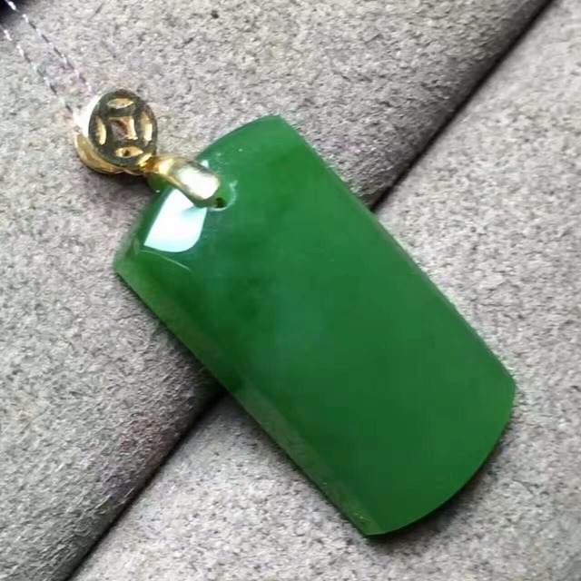 EMS free shipping natural Hetian Jade gold pendant 12.5mm*23mm green jade gold jewelry 18k yellow gold genstone jewelry for lady
