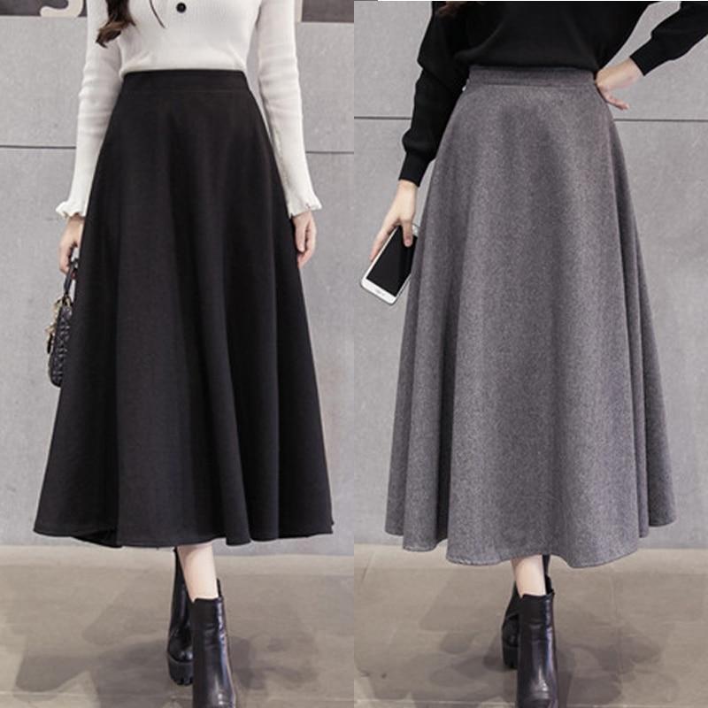 2018 herbst Winter Frauen Warme Wolle Koreanische Röcke Dame Elegante  Version Hohe Taille Rock Mädchen Schaukel Lange Woolen Röcke Für femme a45cd28c8c
