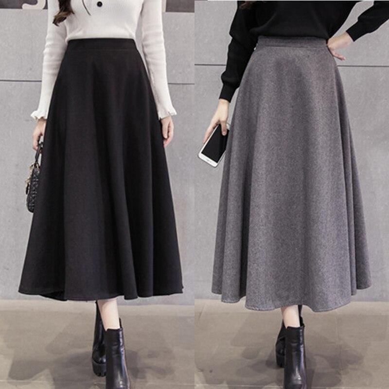Faldas coreanas de lana abrigadas para mujer Otoño Invierno 2019 falda elegante de cintura alta para chicas faldas largas de lana para femme