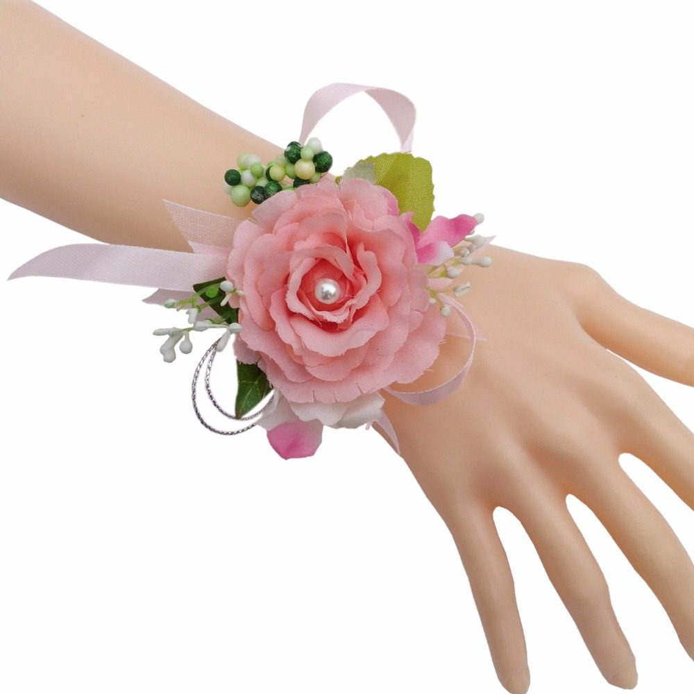 Online Shop Artificial Flowers Bridal Wrist Corsage Wedding Party
