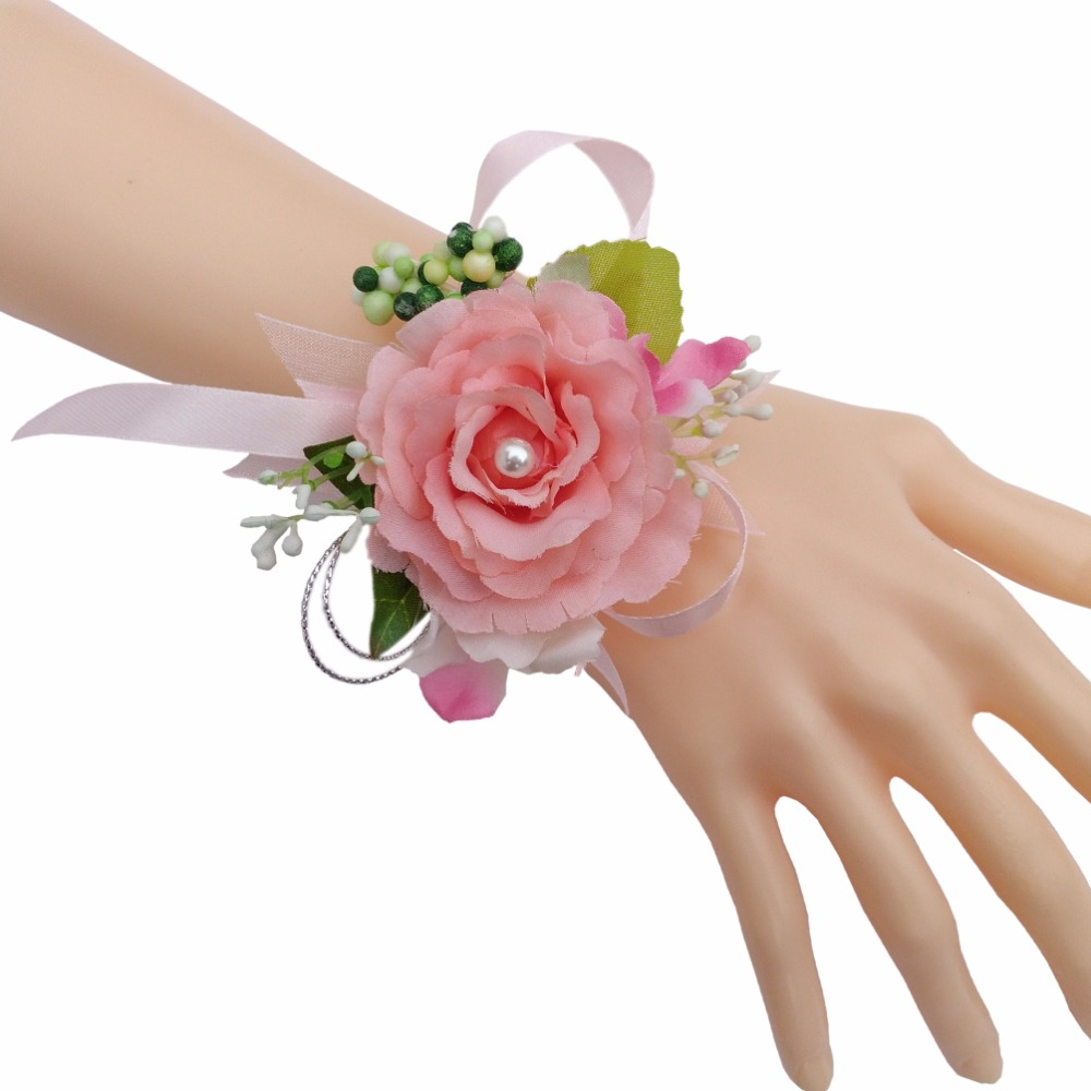 Hot Sale!!! 1pc Bridal Wrist Flower Corsage Girls Bridesmaid Sisters ...