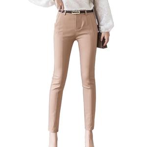 Image 3 - Trousers Women 2019 New  Ankle length Capris Female Leggings Pantalon Femme Workwear Slim High Waist Elastic Casual Woman Pants