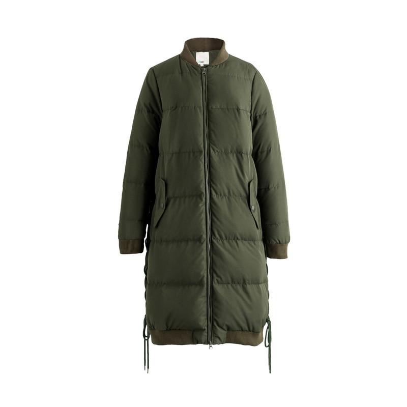 Image 5 - INMAN new winter baseball collar net color warm white eiderdown  long Down Coat femalefemale femalefemale coatfemale long coat -