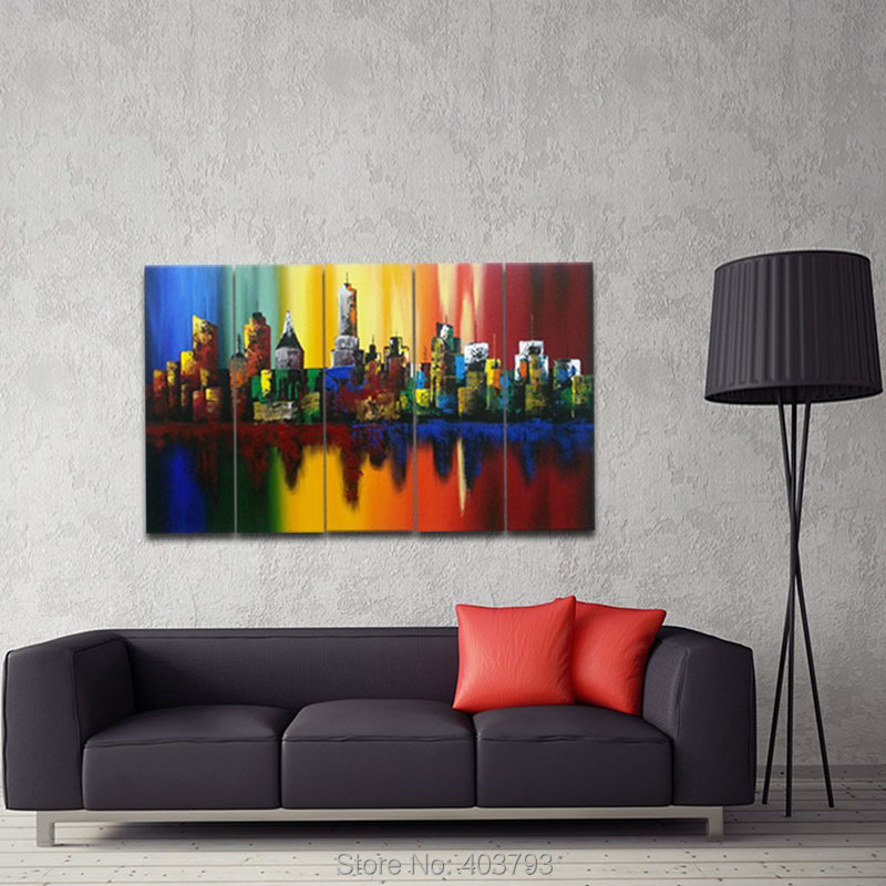 Wall Art Summer In The City Modern Abstract Colorful Cityscape 100% Handmade Oil Painting On Canvas For Living Room Home Decor