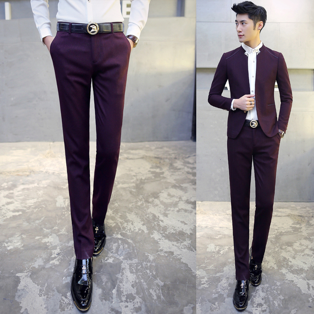 Men Suits Blazer with Pants  Mandarin Collar Tuxedo Slim Fit 3xl Men Suits Bridegroom Costume Homme Mariage  Navy Black Wine Red