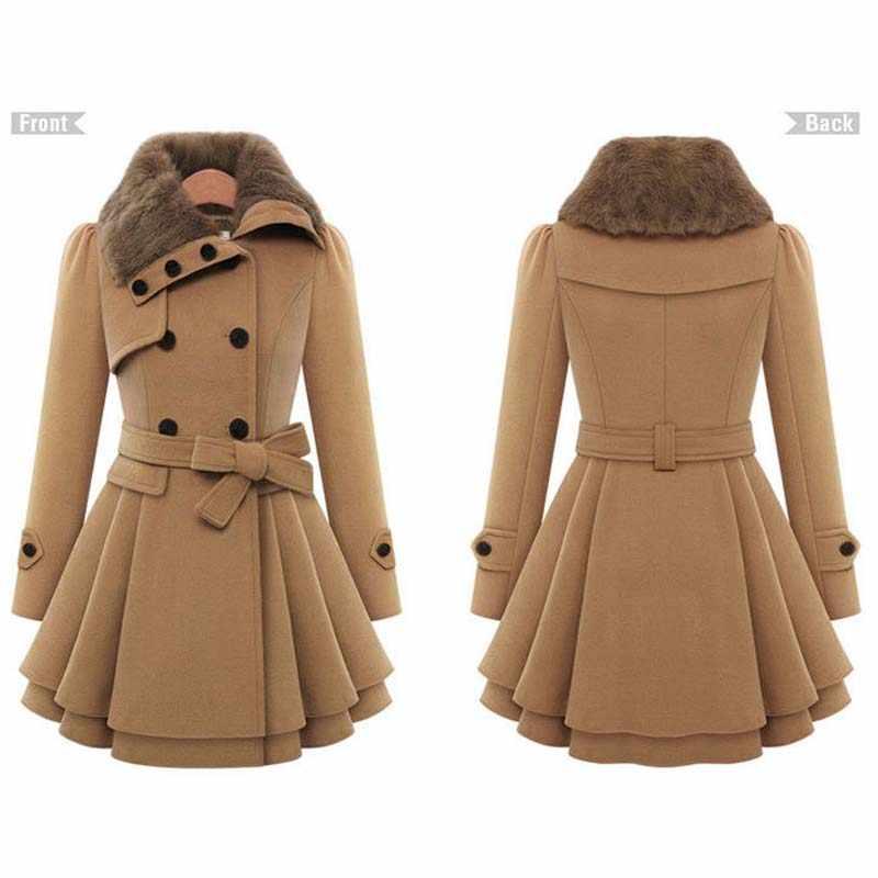Женское шерстяное пальто зимнее пальто с воротником-стойкой, длинный рукав, двубортный тонкий спортивный костюм, большие размеры S-4xl, YF72