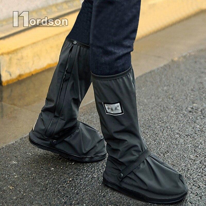 1 Paar Schwarz Wasserdicht rutschfeste Motorrad Radfahren Fahrrad Regen Boot Schuhe Abdeckungen Verdicken Autobike Wiederverwendbare Überschuhe