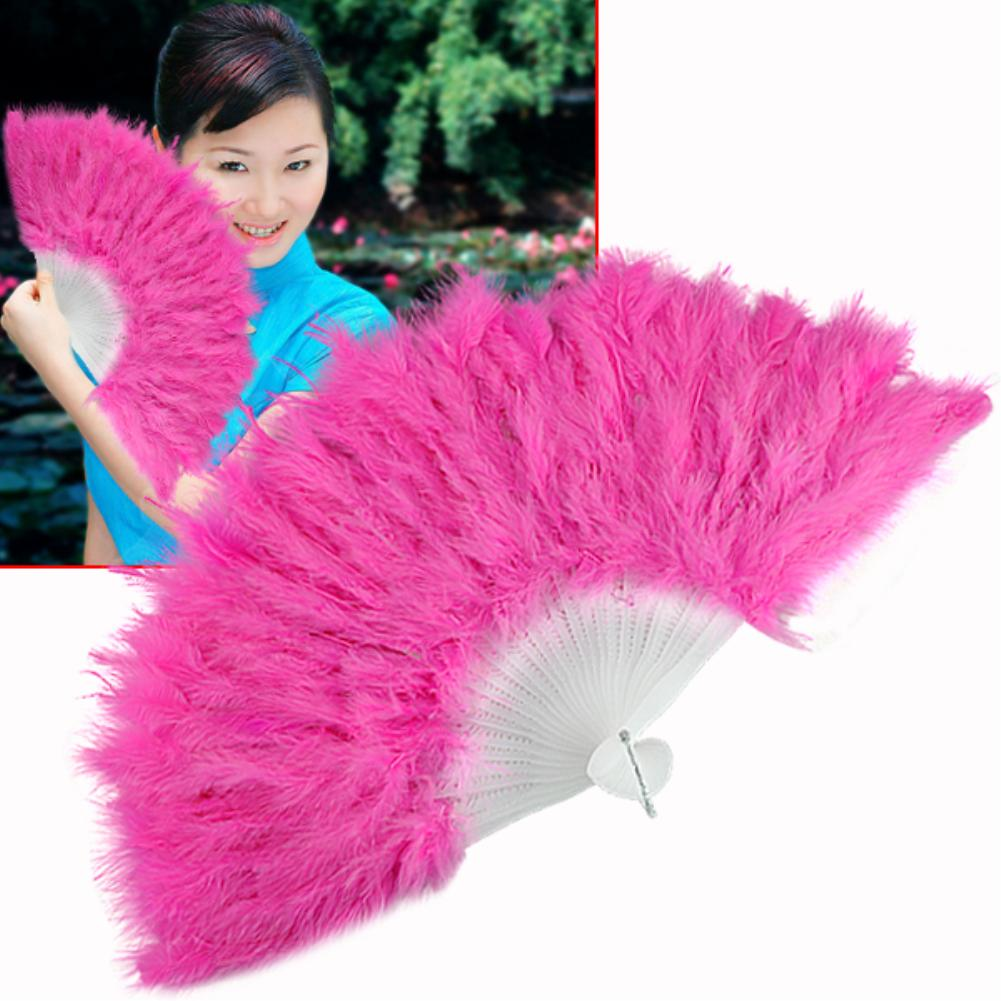 1pcs/lot wedding party room home decoration handmade white/black/blue/red/rose feather Holding Hand fan for dancing Supplies