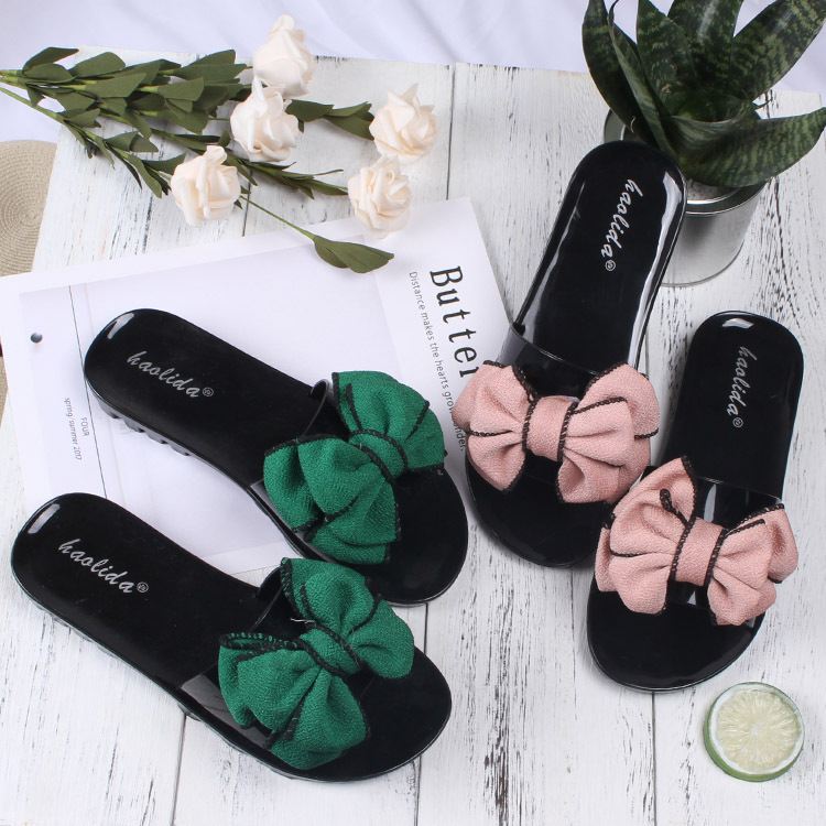 Bowtie Women Flat Sandals Beach Flip Flops Slippers Slip On Slides Women Casual Shoes Sweet Butterfly-knot Slippers New