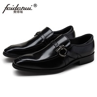 RUIMOSI Luxury Brand Pointed Toe Heels Man Casual Shoes Genuine Leather Male Loafers Italian Designer Men