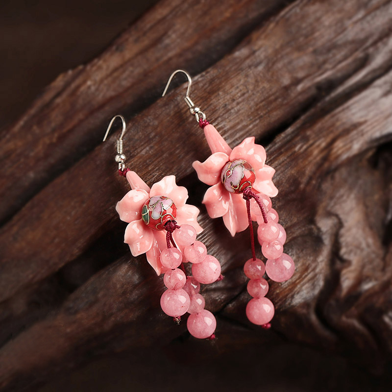Jewelry alloy Handmade Accessories Earrings round High Quality Jewelry 925 Earring For Women Flower Vintage Wedding pair of vintage alloy emboss beads triangle earrings for women