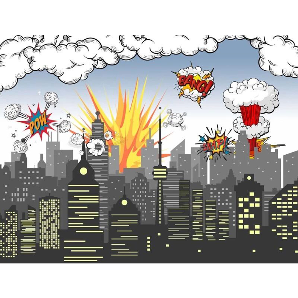 Super Hero Themed Birthday Party Photo Booth Backdrop Printed Pow Bang City Buildings Baby Kids Cartoon Photography Background