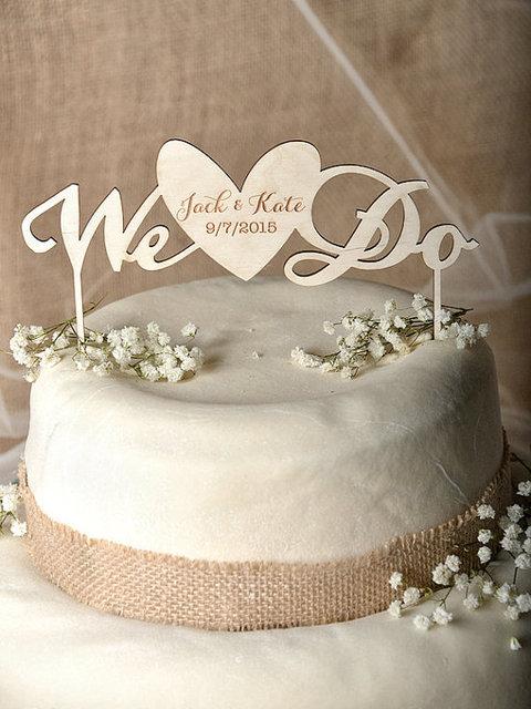 We Do Cake Topper Heart Engraved Wedding