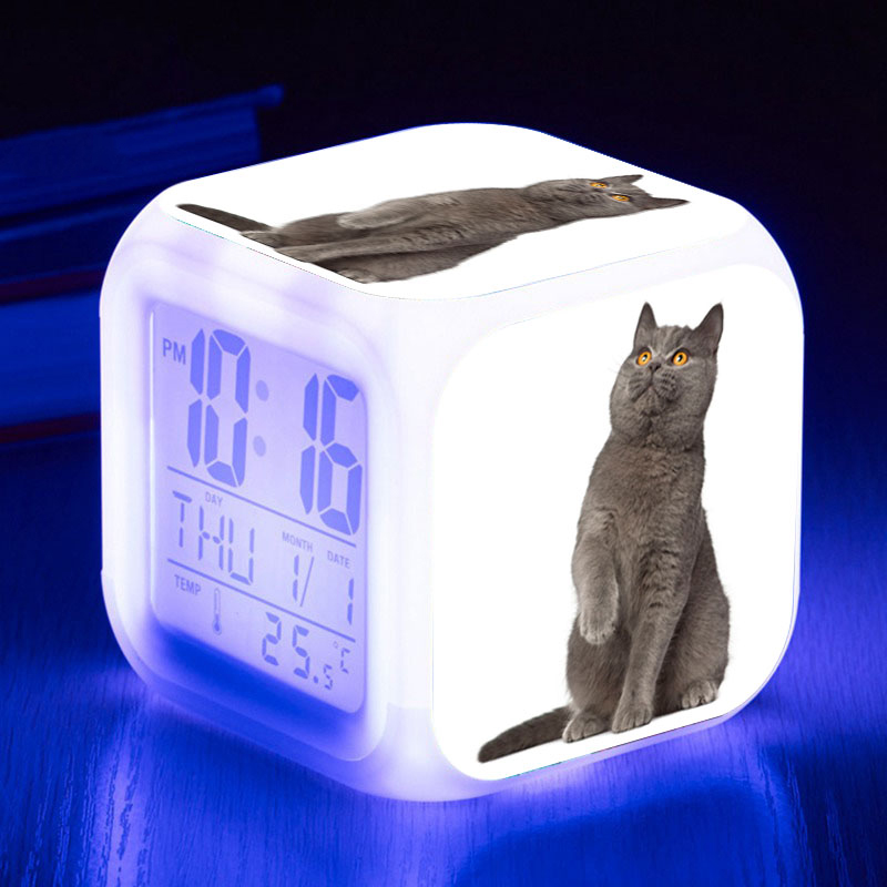 Animal Pets Cat LED Alarm Clocks Color Glow Night Light Cute Cat Digital Clock Touch Light Kids Watch Reloj Despertador Gift Toy
