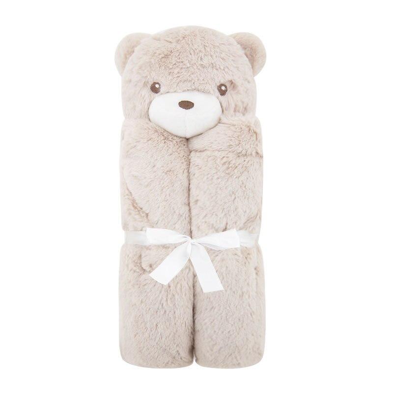 Младенческая обертка детское одеяло фланелевый животный узор 76*76 см зимний подарок реквизит для фотосъемки пеленание многоцветный детское одеяло - Цвет: beige bear