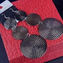 Big Round Silver Black Tassel Earrings