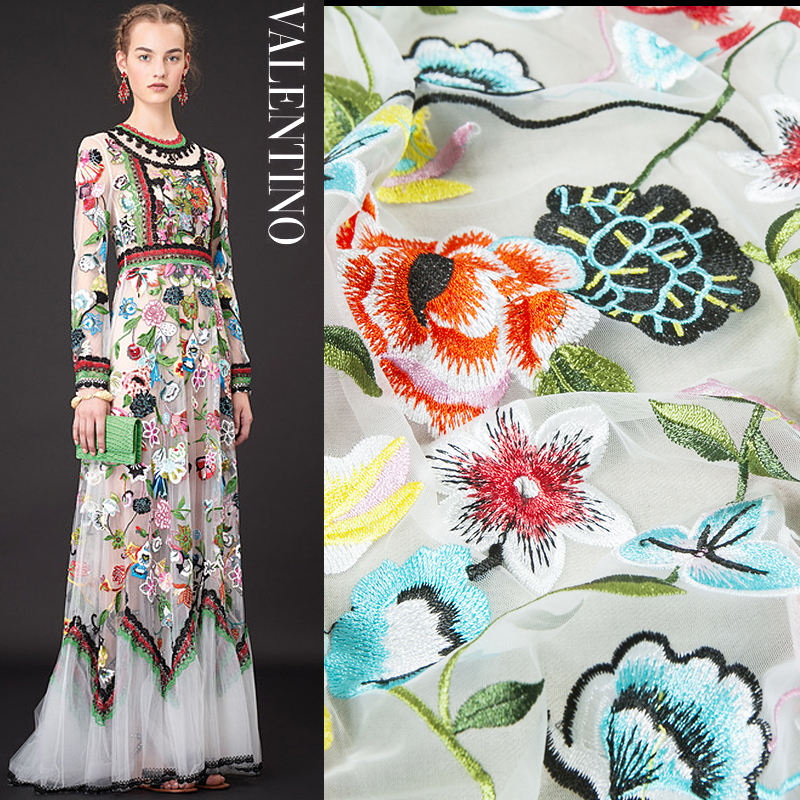 Embroidery Fashion Couture Lace Fabric Floral Pattern