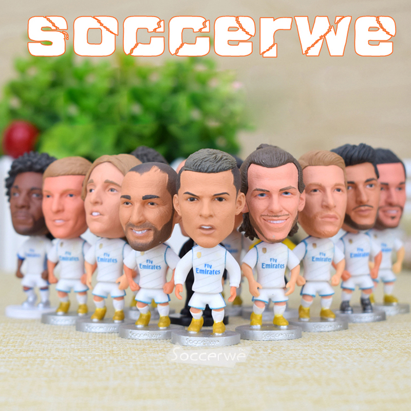 12PCS + Display Box Soccer Real Madrid Player Star Figurine 2.5