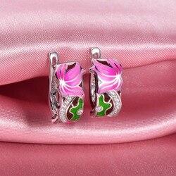 RainMarch Enamel Lotus Flower Silver Earrings For Women Engagement 925 Sterling Silver Earring Handmade Enamel Party Jewelry