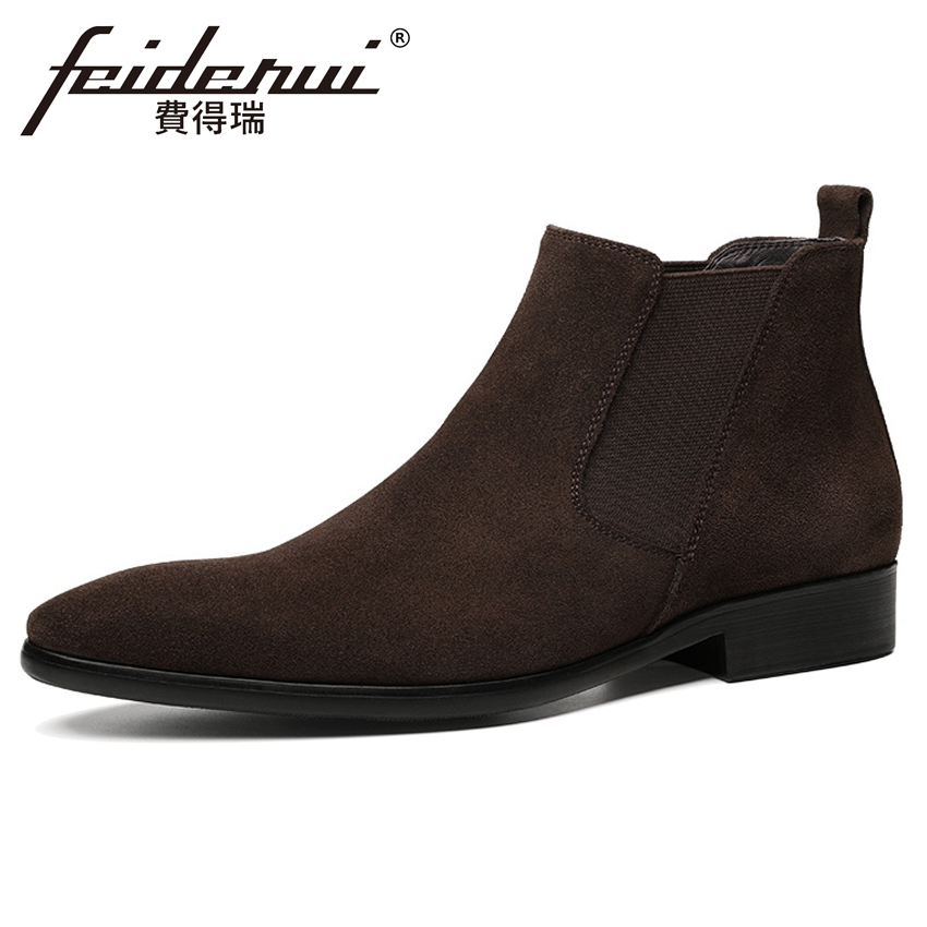 Classic Cow Suede Leather Mens Wedding Chelsea Ankle Boots Pointed Toe Handmade Cowboy Riding  Man Chukka Shoes YMX607Classic Cow Suede Leather Mens Wedding Chelsea Ankle Boots Pointed Toe Handmade Cowboy Riding  Man Chukka Shoes YMX607