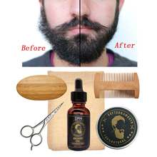 ZPM 5pcs/set Beard Grooming kit Beard Oil Moisturizing Wax Smooth styling Blam Comb Moustache Brush Scissors Beard Care kit