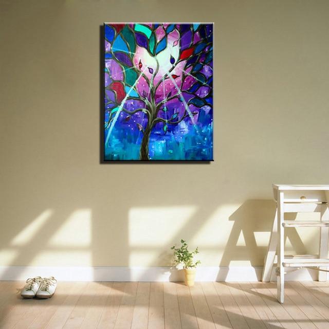 Abstrakte Moderne Acryl Blau Lila Handgemalte Lebensbaum Wand Dekoration öl  Hand Malerei Auf Leinwand Für Wohnzimmer