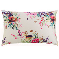 New Free Shipping 100 Nature Mulberry Floral Silk Pillowcase Zipper Pillowcases Pillow Case For Healthy Standard