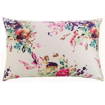 Nova Frete grátis 100% natural amoreira seda floral fronha com zíper fronhas fronha para o padrão saudável rainha rei