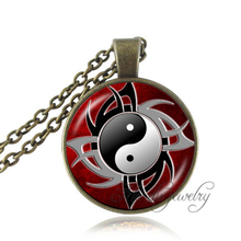 Drop Shipping yin yang necklace dragon tiger picture cross jewelry antique bronze animal necklaces glass cabochon pendants