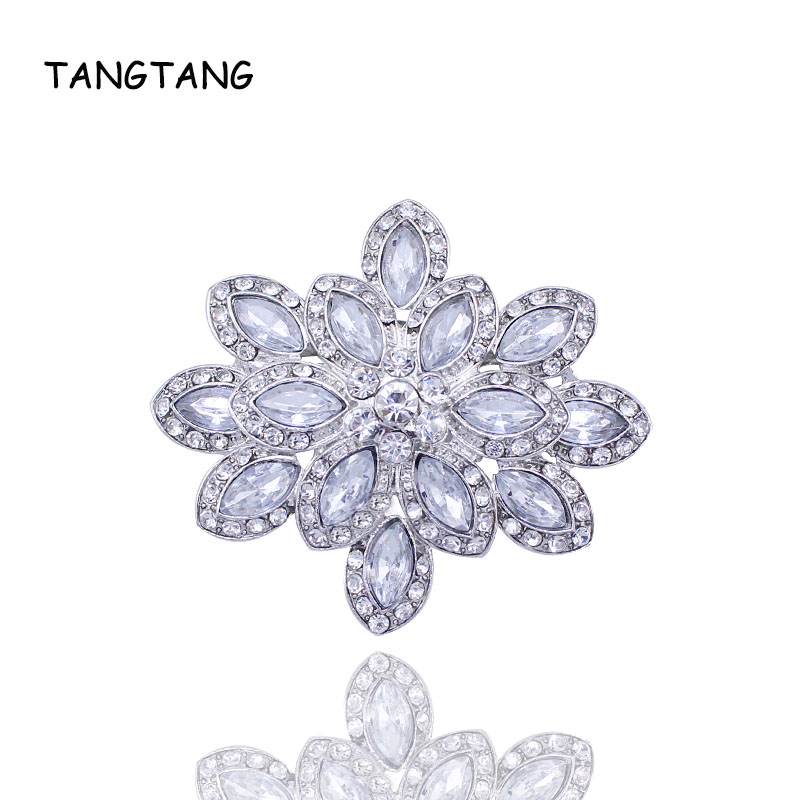 Hot Sale Female Brooch Vintage Rhodium Plated Charm Clear Rhinestone Crystal Large Size Wedding Pin Jewelry New Item No.: BH7528
