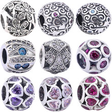 S925 Sterling Silver Beads Fit for Pandora Bracelet Women Jewelry Making Fashion DIY Round Ball Heart Flower Crystal Charm Bead