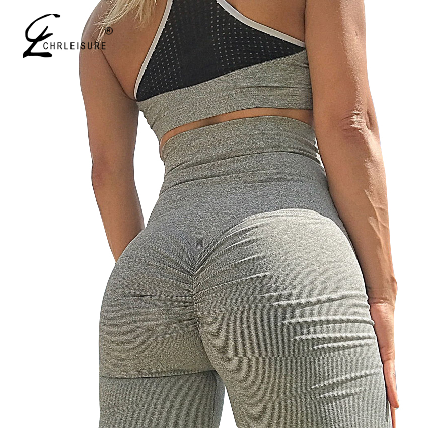 CHRLEISURE Sexy Push Up Leggings Women High Waist Workout Leggings Mujer Fashion Wrinkle   Sportswear Leggings Femme  8Color