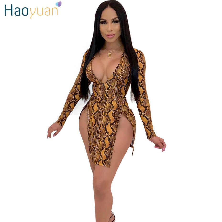 115d51fd804 HAOYUAN Sexy Snake Print Dress Women Long Sleeve Bodycon Mini Dresses  Elegant Autumn Deep-V