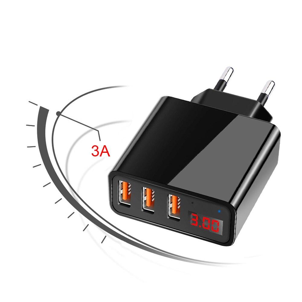 5 V 3A 3-puertos USB LED pantalla Digital inteligente Phone cargador UE enchufe Pared de carga rápida cargador adaptador para iPhone samsung