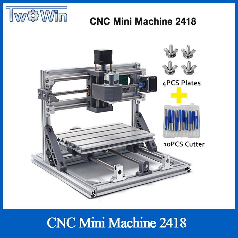 TWOWIN CNC 2418 Mini CNC Laser Machine Working Area 24x18x4.5cm 3 Axis PCB Milling Machine With GRBL Control CNC Router CNC 2418