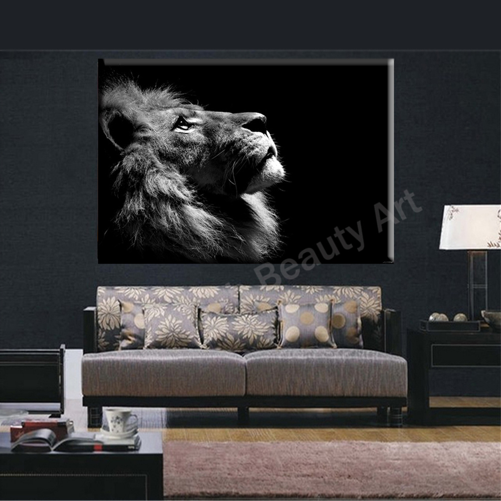 Us 9 5 2016 lion king wall art canvas prints modern art painting wall pictures for living room home decorations animal canvas prints in painting