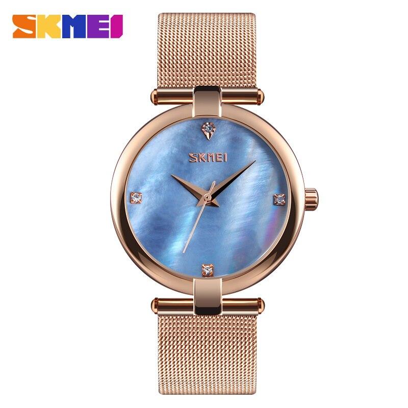 SKMEI Female Clock Elegant Shell Dial Women Quartz Watch Fashion Water Resistant Stainless Steel Clock Ladies Wrsitwatch 9177 цена