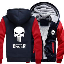 Winter Verdicken Jacke Sweatshirts Punisher Schädel Cosplay Mantel Reißverschluss Hoodie Winter Fleece Unisex
