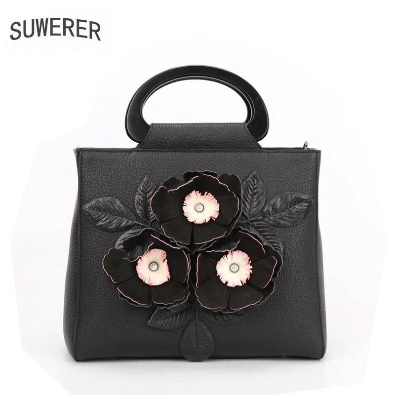Leder Taschen Handgemachte Tasche Mode Schwarzes Frauen Suwerer Echtes Tote Schulter rot Blumen 2019 Neue Handtaschen Designer wqnCA1