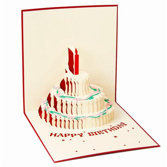 1pcs 3d Pop Up Greeting Cards Color Cake Birthday Card Birthday