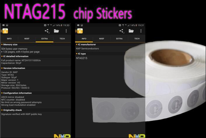 bilder für Großhandel 100 teile/los Dia.25mm NFC NTAG215 Aufkleber RFID Tag NFC Tags Aufkleber