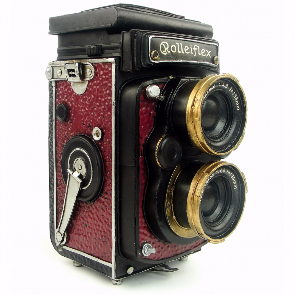 Antique classical camera model retro vintage wrought handmade metal crafts for home pub cafe decoration or