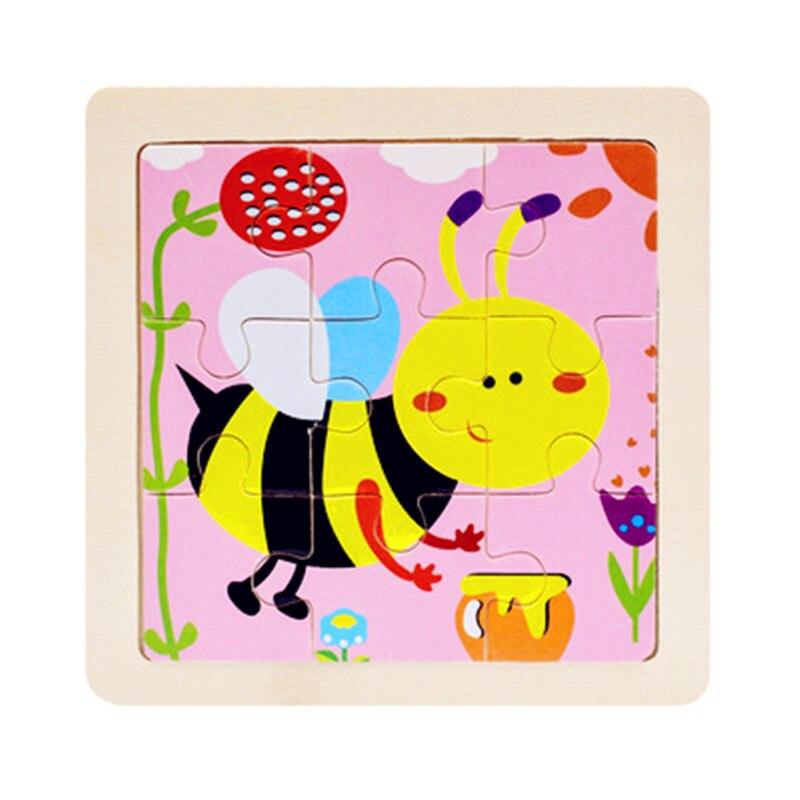 Мини Размер 11*11 см детская игрушка деревянная головоломка деревянная 3D головоломка для детей Детские Мультяшные животные/дорожные Пазлы обучающая игрушка
