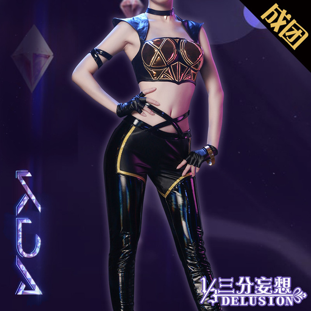 Hot!!! LOL K/DA KDA Kaisa Evelynn Akali  Ahri Cosplay Costume Female Group All Member Uniforms Free Shipping  2