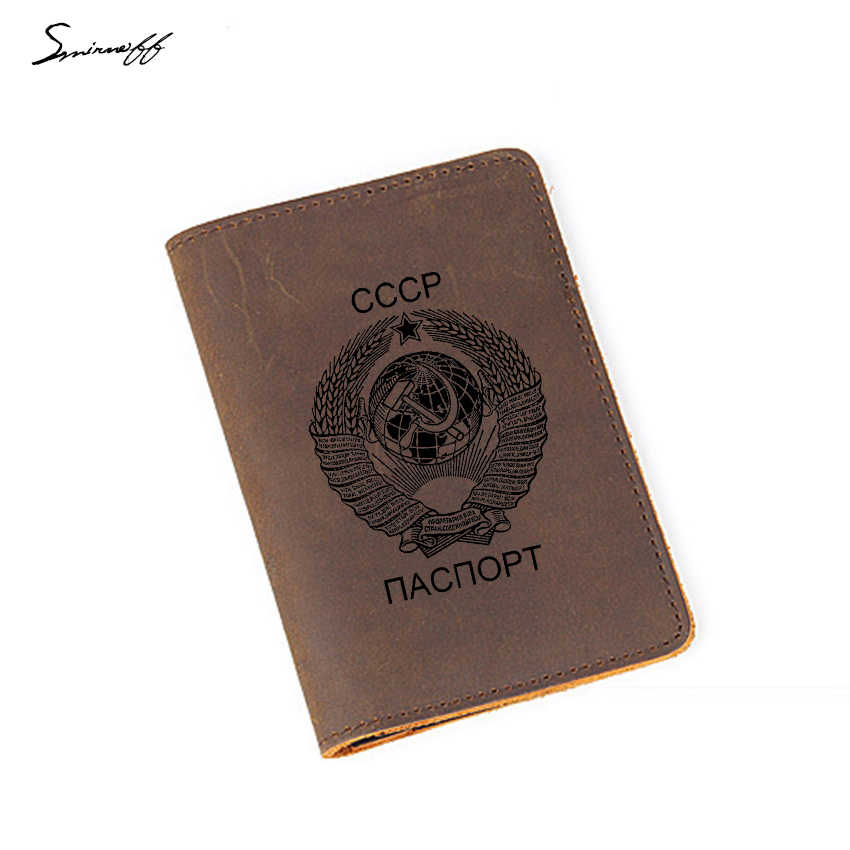 CCCP Travel Accessories Card Holders USSR Soviet Union national emblem Passport Cover Cow Leather Russian Passport Holder