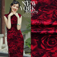 2019 summer style 100% silk satin fabric red rose patchwork patchwork (1 meter)